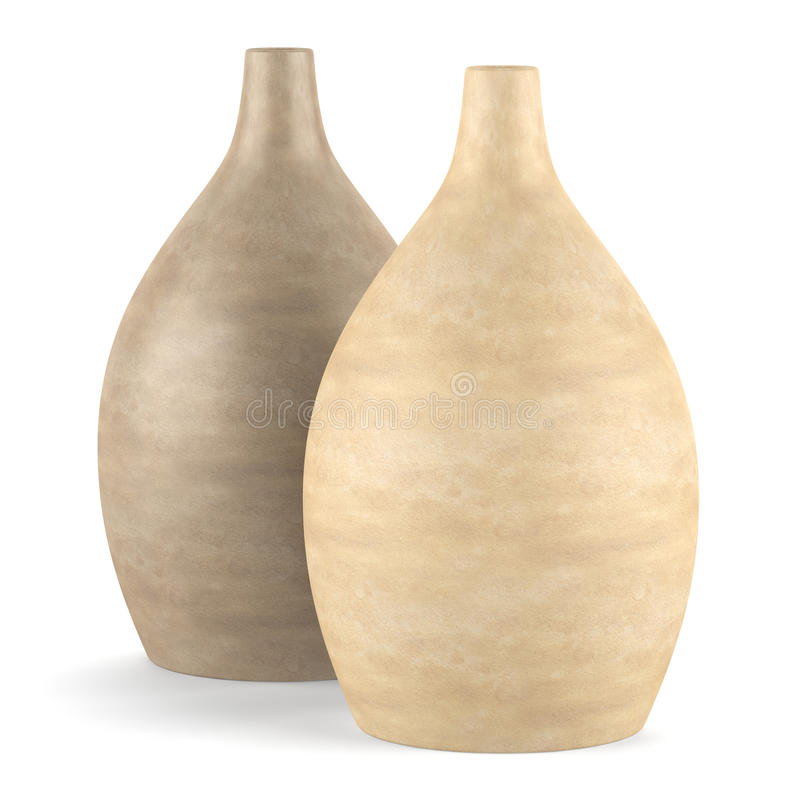 Dos floreros de cerámica marrones aislados en blanco foto de archivo