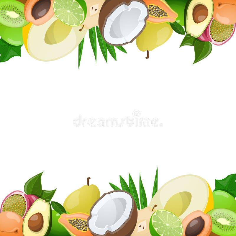 Dos fronteras hechas de la fruta madura deliciosa stock de ilustración