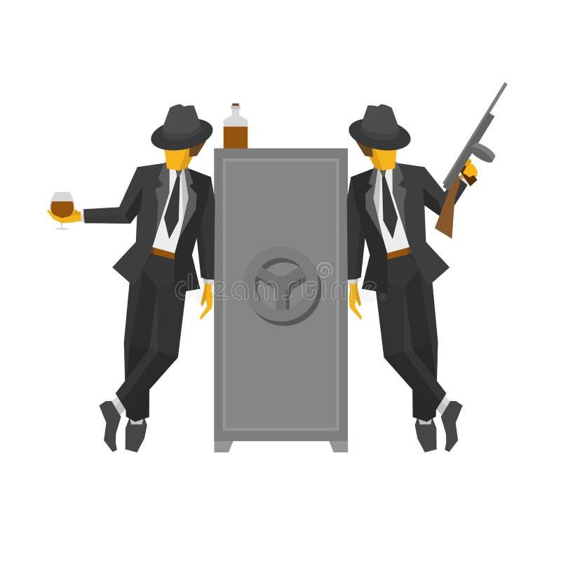 Dos gángsteres en los trajes que se colocan cerca de la caja fuerte libre illustration