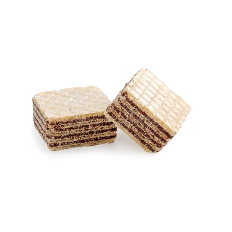 Dos galletas cuadradas de la oblea aisladas en blanco fotografía de archivo