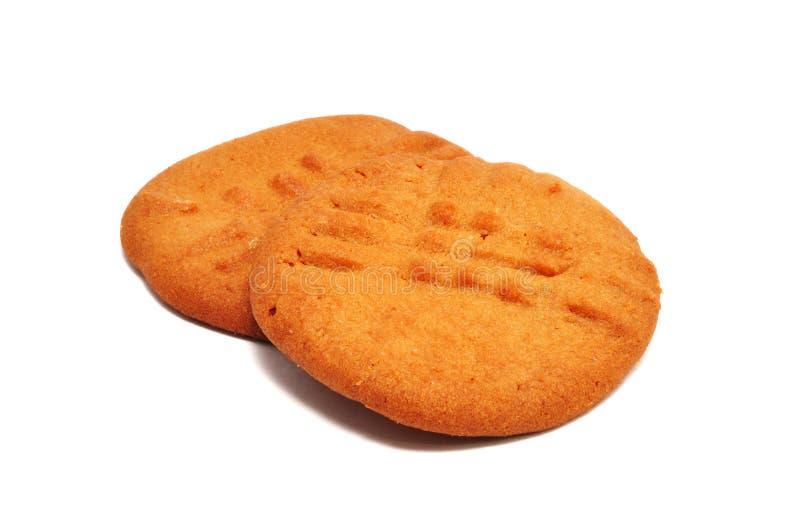 Dos galletas de mantequilla de cacahuete imagen de archivo