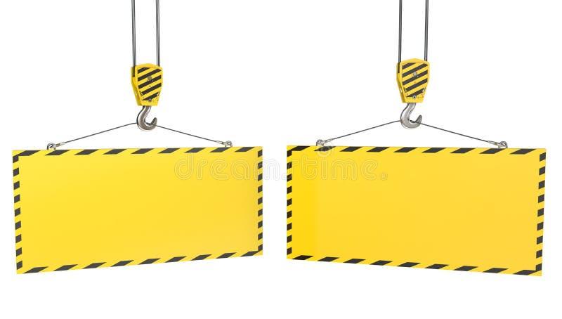 Dos ganchos de leva de la grúa con las placas amarillas en blanco stock de ilustración