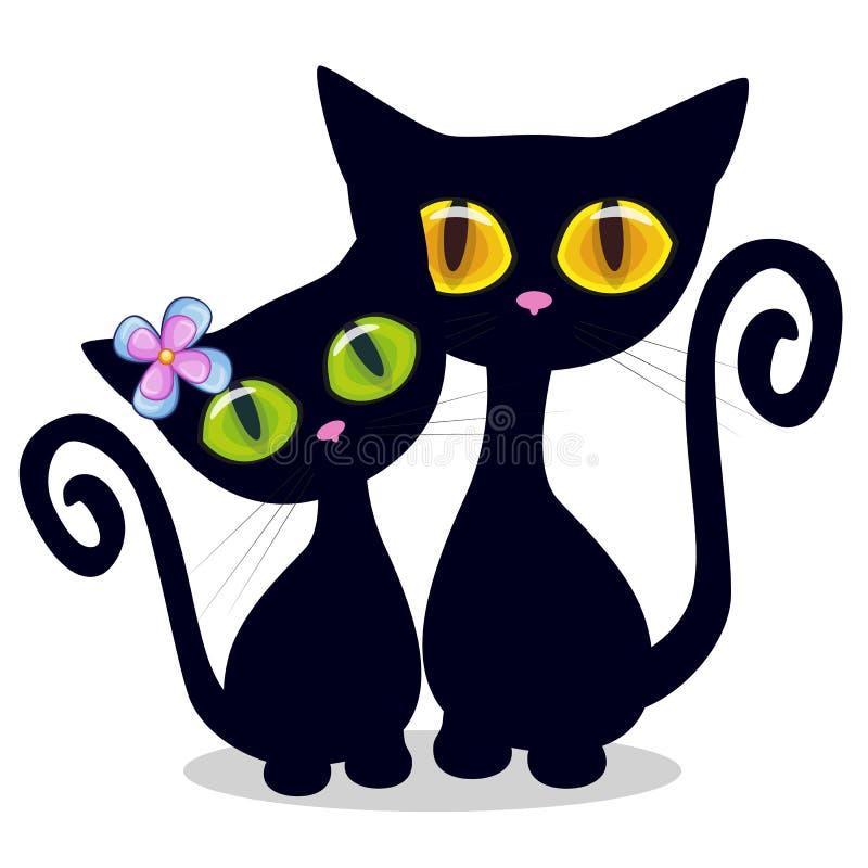 Dos gatitos negros libre illustration