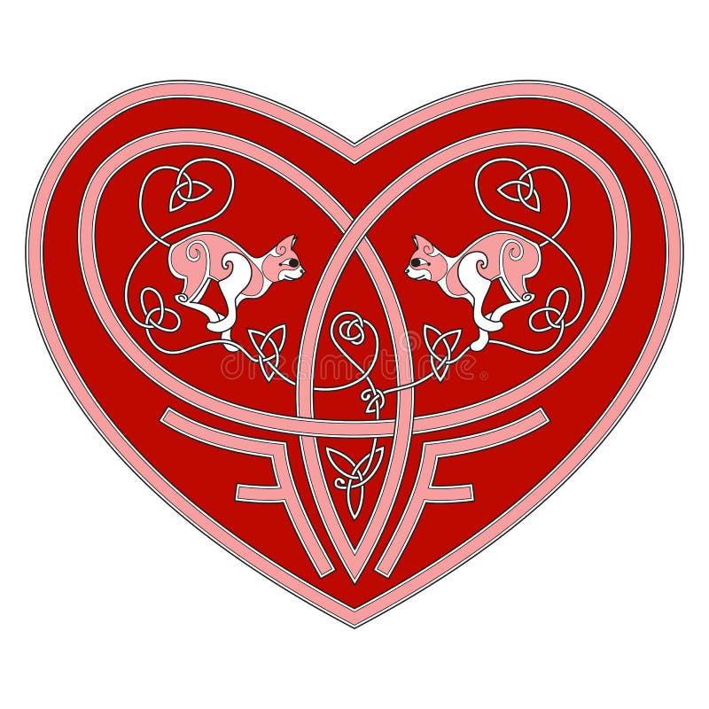 Dos gatos en amor dentro del corazón céltico en el vector blanco del fondo libre illustration