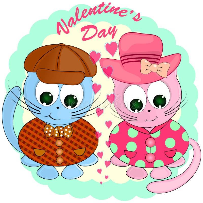Dos gatos en amor Ilustración del vector de la historieta stock de ilustración