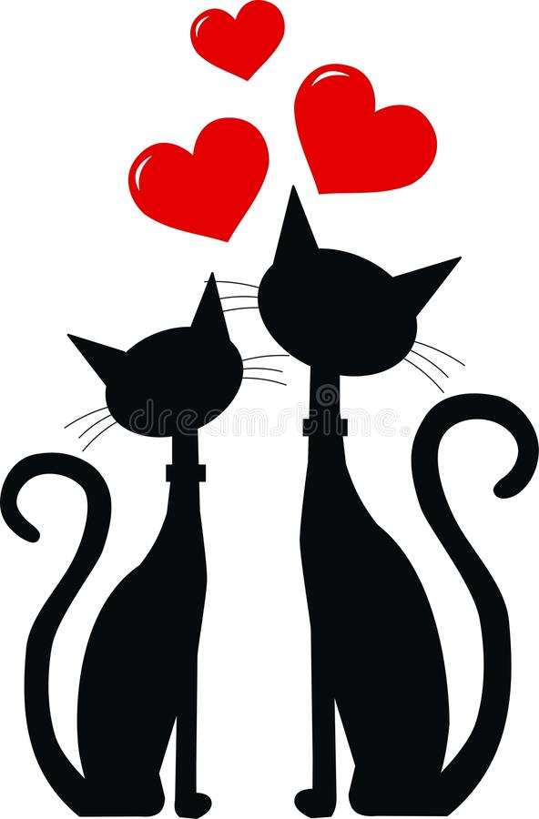 Dos gatos negros en amor libre illustration