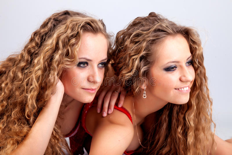Dos gemelos de las muchachas, aislados en el fondo gris imagen de archivo libre de regalías