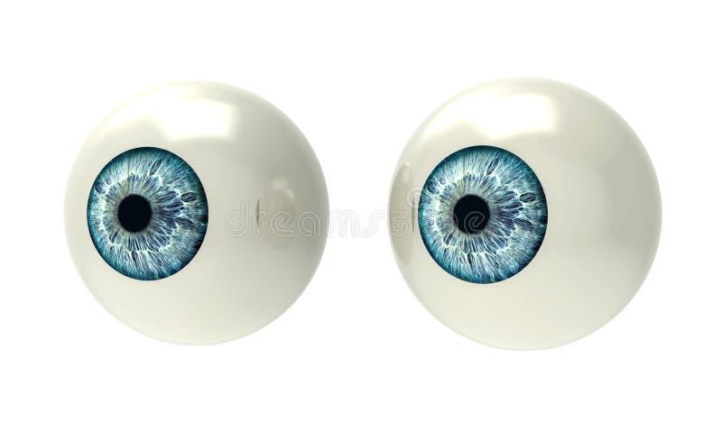 Dos globos del ojo aislados en blanco ilustración del vector