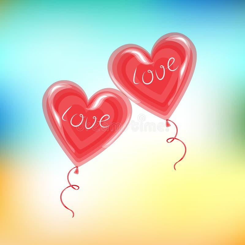 Dos globos rojos en la dimensi?n de una variable de un coraz?n Un s?mbolo del amor Él viene en amor con un regalo del día de la t stock de ilustración