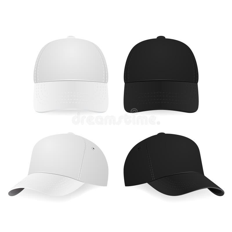 Dos gorras de béisbol blancas y negras realistas stock de ilustración