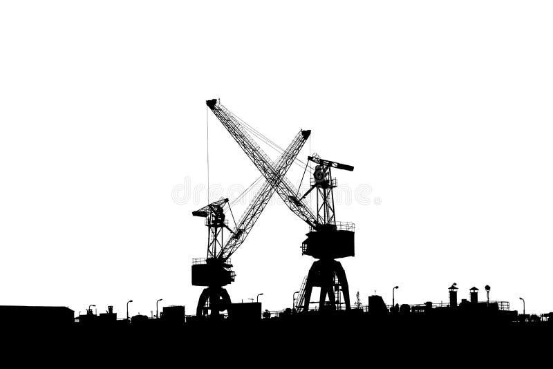 Dos grúas en el puerto foto de archivo libre de regalías