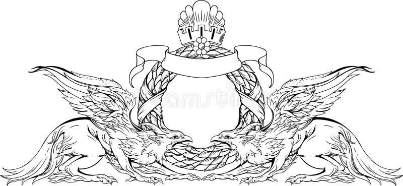 Dos grifos y muestra heráldica Rebecca 36 ilustración del vector
