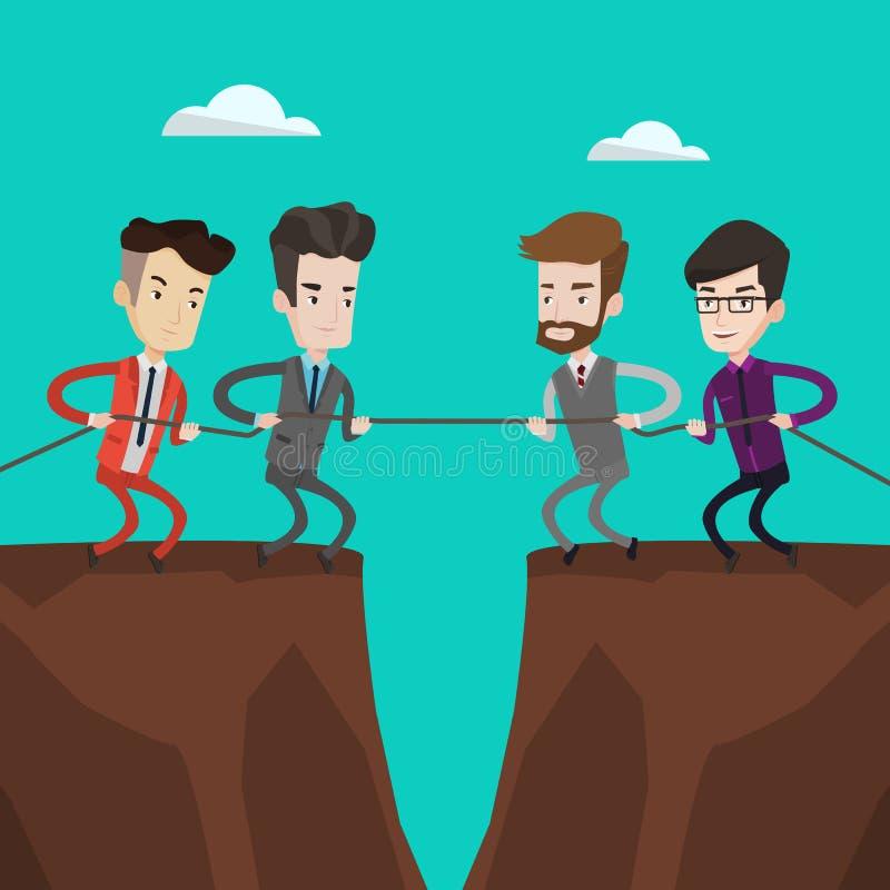Dos grupos de hombres de negocios de la cuerda de tracción ilustración del vector