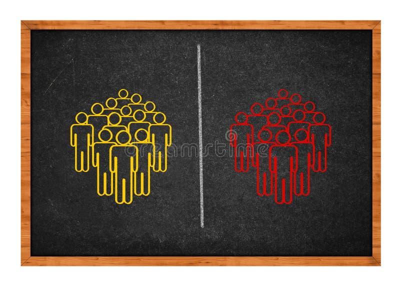 Dos grupos de personas divididos ilustración del vector