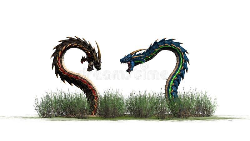 Dos gusanos del dragón en la hierba libre illustration