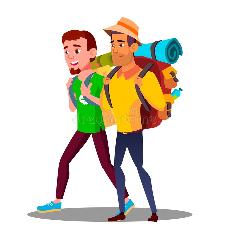 Dos Guy Friends Teen Going Hiking con vector de las mochilas Ilustración aislada libre illustration
