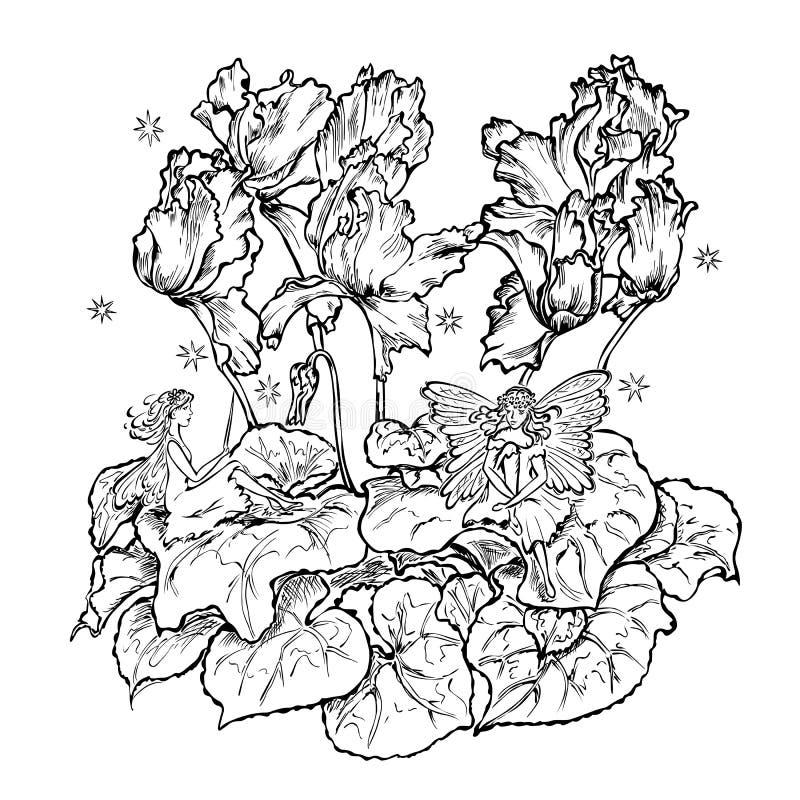 Dos hadas que sientan ciclamen de la hoja de la flor stock de ilustración