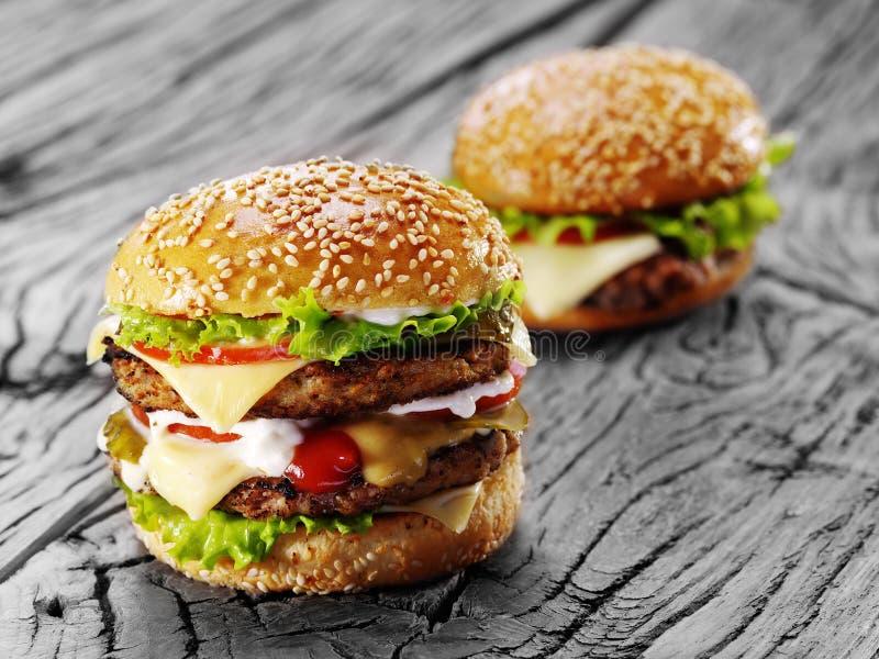 Dos hamburguesas fotografía de archivo libre de regalías