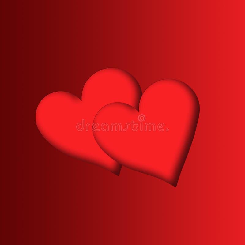 Dos hearts2 ilustración del vector