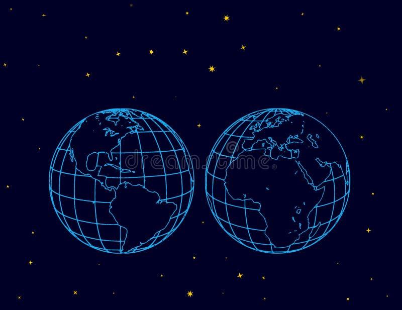 Dos hemisferios del globo en espacio stock de ilustración