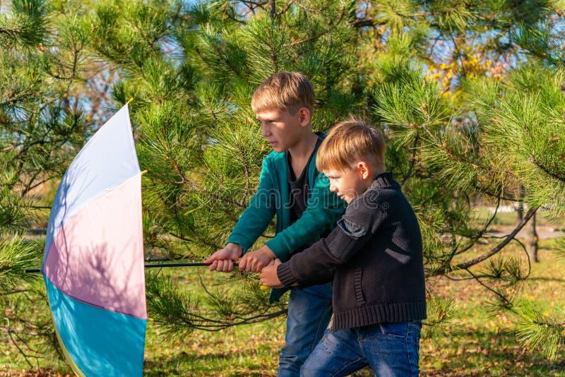 Dos hermanos están tirando de un paraguas coloreado contra el viento en un bosque del pino fotos de archivo