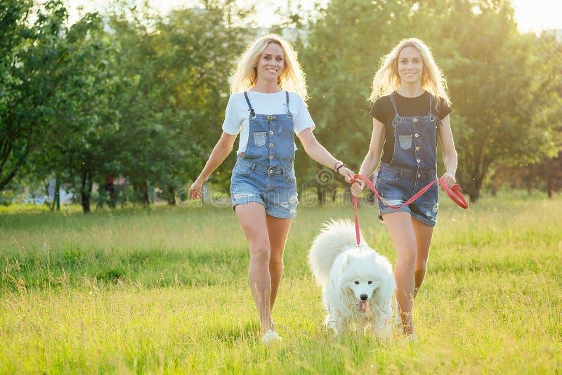Dos hermosas y encantadoras gemelas rubias en los overoles denim están corriendo con un perro mugriento blanco y esponjoso en el  fotografía de archivo