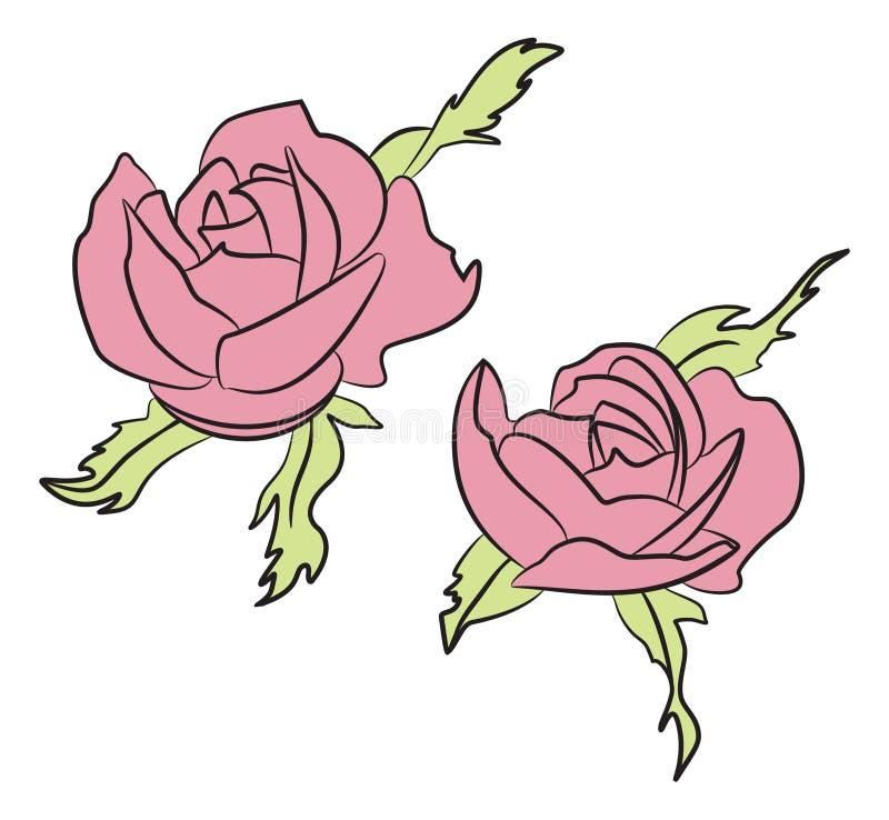 Dos hojas del witn de los rosetones aisladas en el fondo blanco ilustración del vector