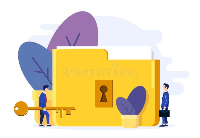 Dos hombres abren la carpeta de la cerradura Clave grande Ejemplo con los ficheros y las flores secretos en el pote Estilo plano  libre illustration