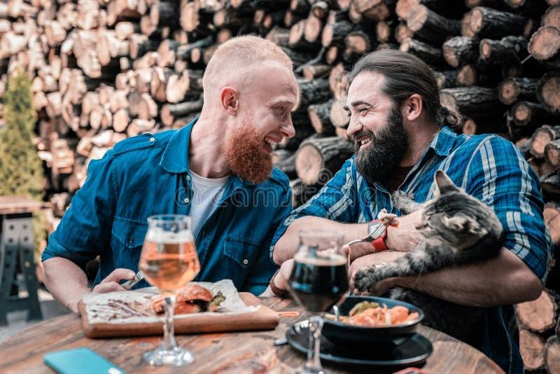 Dos hombres amistosos del animal doméstico que sostienen el gato gris mientras que cenando afuera foto de archivo libre de regalías