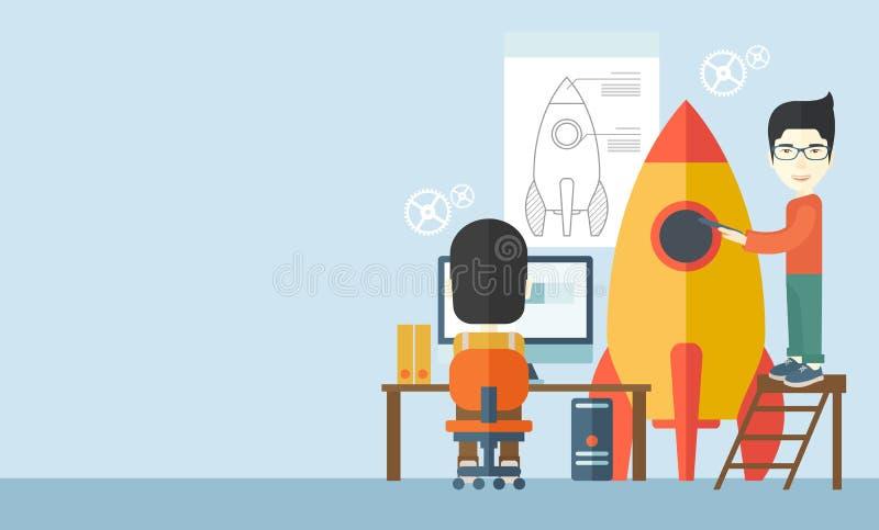 Dos hombres asiáticos para crean negocio libre illustration