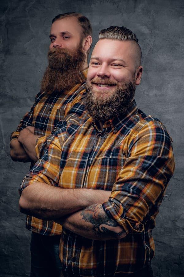 Dos hombres barbudos divertidos se vistieron en una camisa de tela escocesa que presentaba en vagos grises fotos de archivo libres de regalías