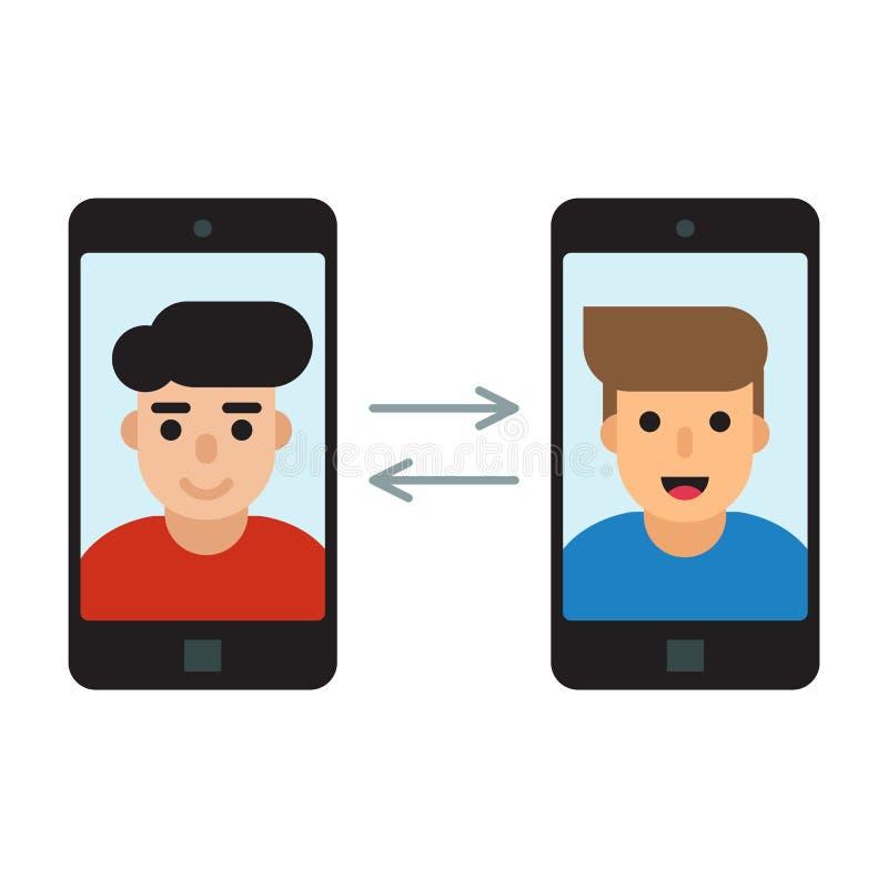 Dos hombres comunican con los teléfonos móviles ilustración del vector