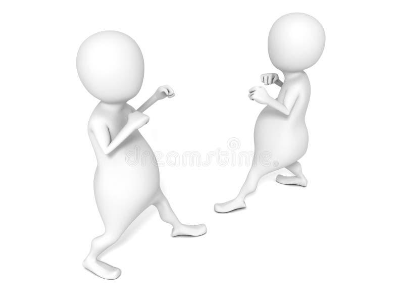 Dos hombres 3D en la posición que lucha respecto al backgrund blanco stock de ilustración