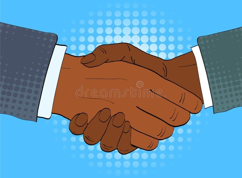 Dos hombres de negocios afroamericanos sacuden el ejemplo del vector de las manos en estilo retro del arte pop stock de ilustración