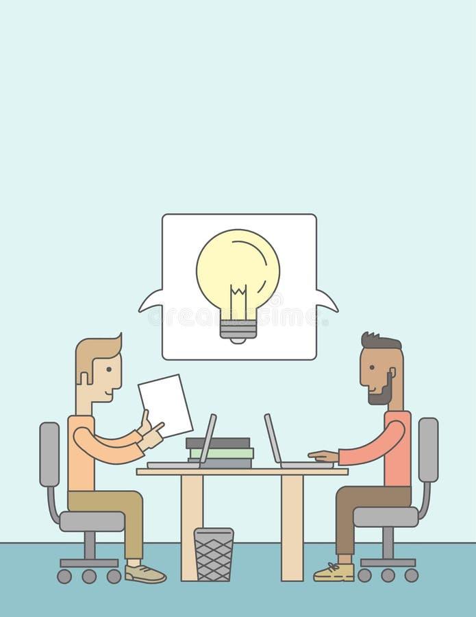 Dos hombres de negocios caucásicos que trabajan junto libre illustration