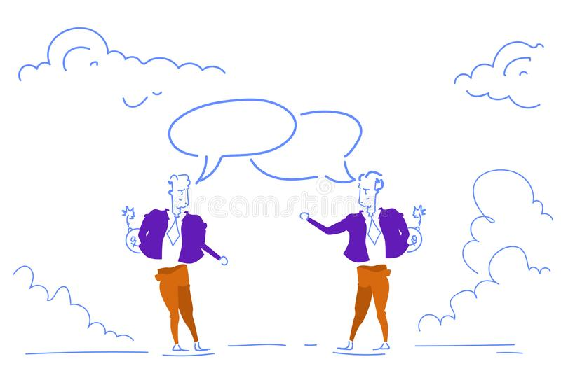 Dos hombres de negocios charlan garabato horizontal combinado del bosquejo del discurso del hombre de negocios del concepto de la ilustración del vector
