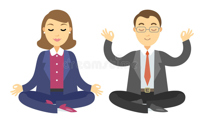 Dos hombres de negocios que hacen la meditación Hombre y mujer que hacen yoga ilustración del vector