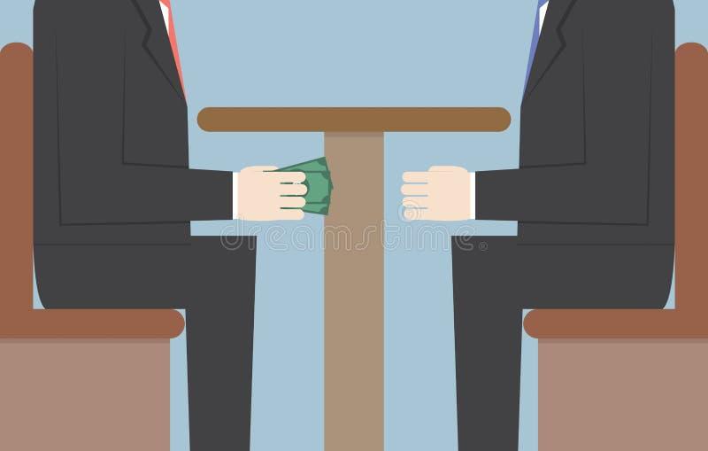 Dos hombres de negocios que pasan el dinero debajo de la tabla, soborno, Corrupti libre illustration