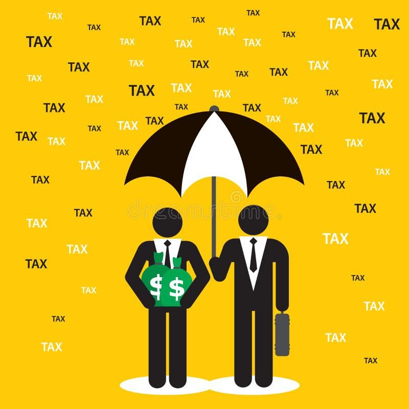 Dos hombres de negocios que protegen el dinero contra tarifas e impuestos stock de ilustración