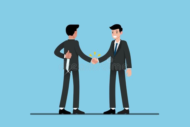 Dos hombres de negocios que se colocan y sacuden las manos ilustración del vector