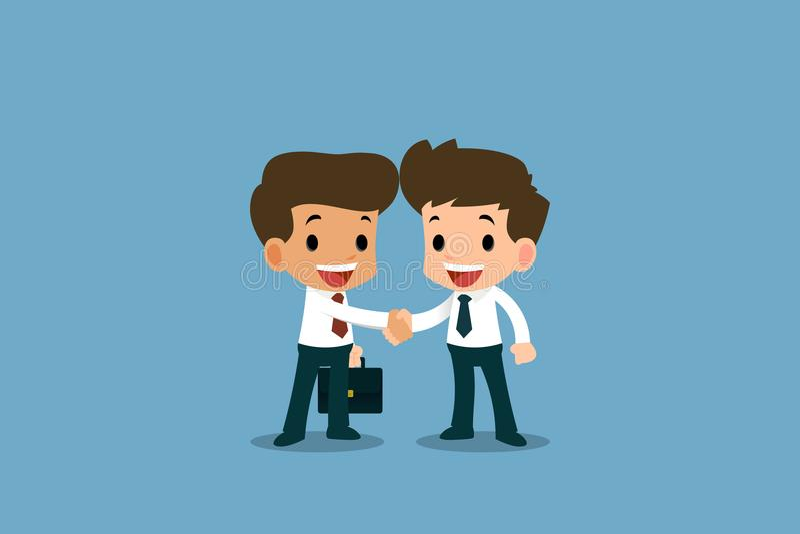 Dos hombres de negocios que se colocan y sacuden las manos para la cooperación y hacen un trato ilustración del vector