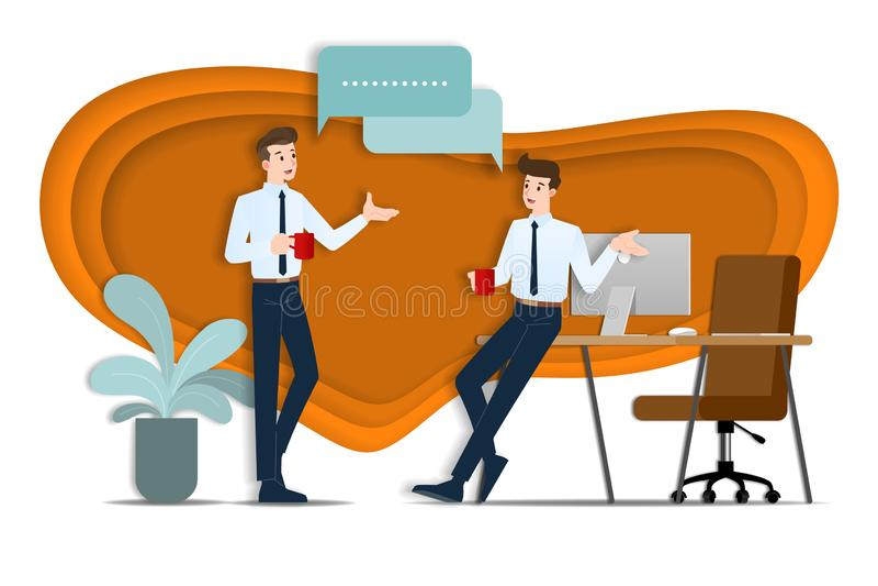 Dos hombres de negocios que se discuten El empleado que habla con el equipo sobre ideas del negocio o sobre la organizaci?n comer ilustración del vector