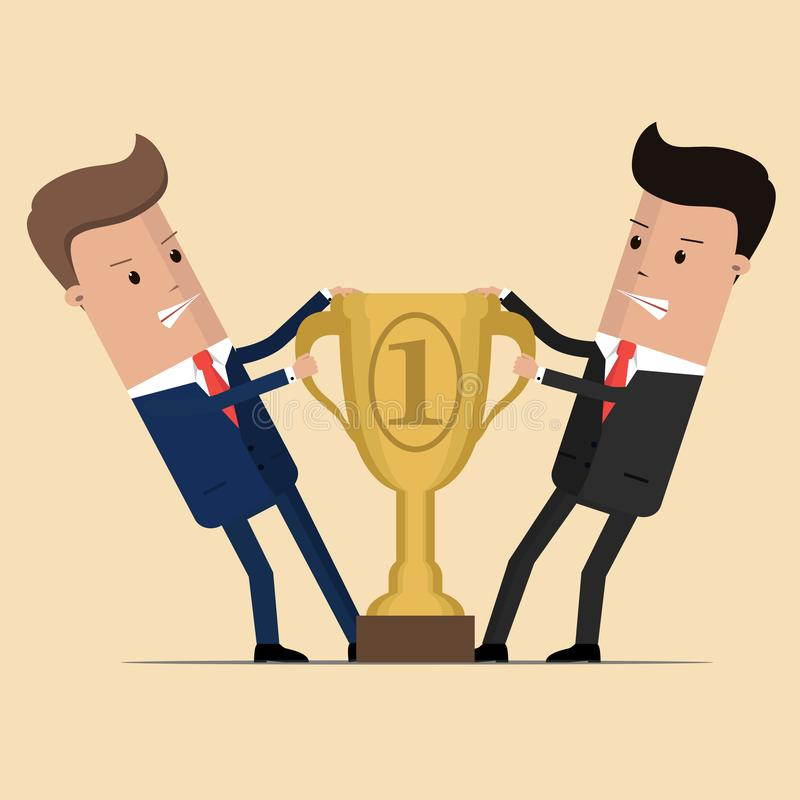 Dos hombres de negocios que se luchan para el premio que gana Oficinistas competentes enojados que tiran del premio o del trofeo  ilustración del vector
