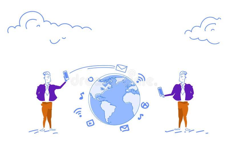 Dos hombres de negocios usando la aplicación móvil en línea de la charla del smartphone del concepto global de la comunicación en ilustración del vector