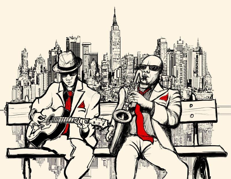 Dos hombres del jazz que juegan en Nueva York stock de ilustración