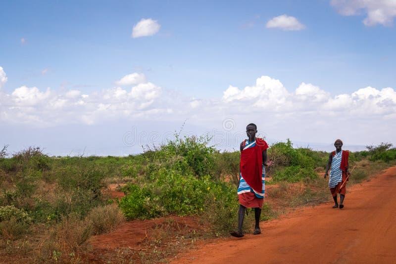 Dos hombres del maasai en la ropa tradicional, Kenia imagen de archivo