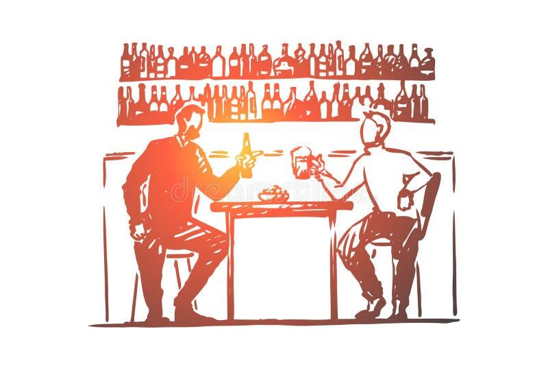 Dos hombres jovenes que se sientan en la barra, cerveza de consumici?n, al rev?s con las botellas, amistad, gente celebran con la ilustración del vector