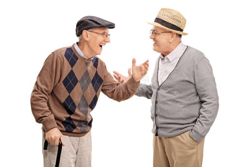 Dos hombres mayores que hablan el uno al otro y que ríen foto de archivo libre de regalías