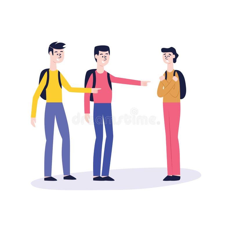 Dos hombres o un adolescente con las mochilas tiranizar a otro individuo ilustración del vector