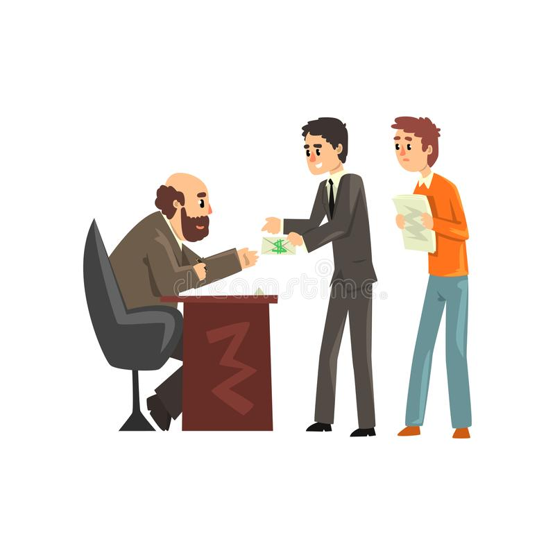 Dos hombres que dan el dinero para conseguir el permiso, funcionario que toma un concepto del soborno, de la corrupción y del sob libre illustration